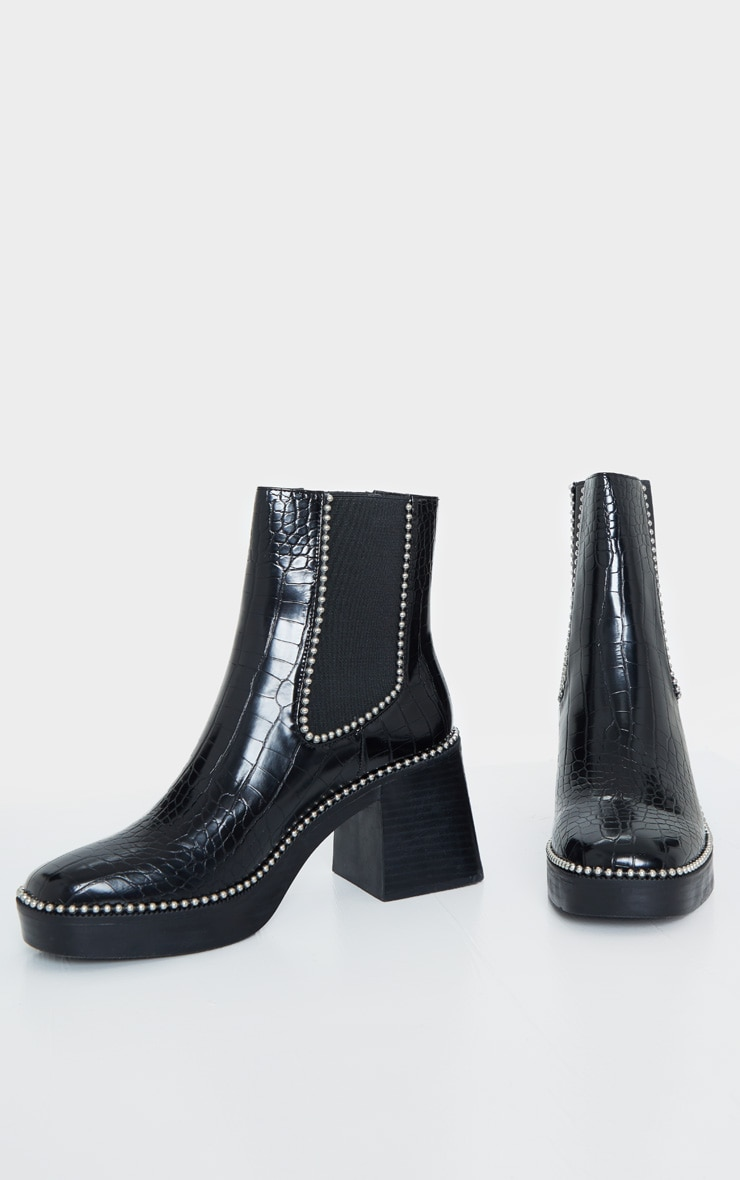 Black Square Toe Chunky Block Heel Chelsea Boot 3
