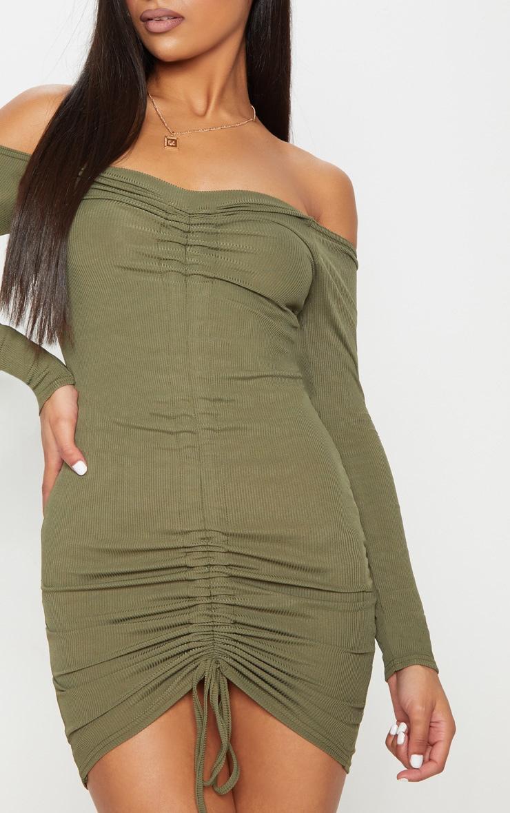 Khaki Ribbed Long Sleeve Bardot Ruched Bodycon Dress 4