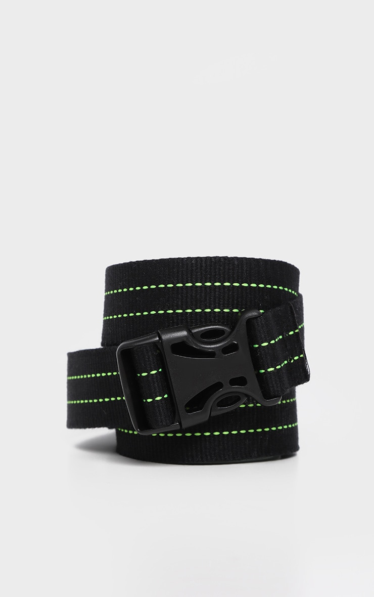 Black Woven Green Stitching Buckle Tape Belt 1