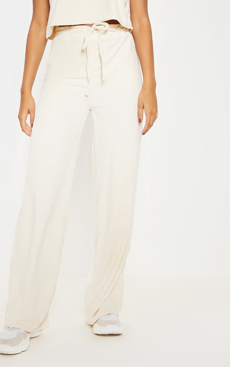 Stone Velour High Waisted Wide Leg Pants 2