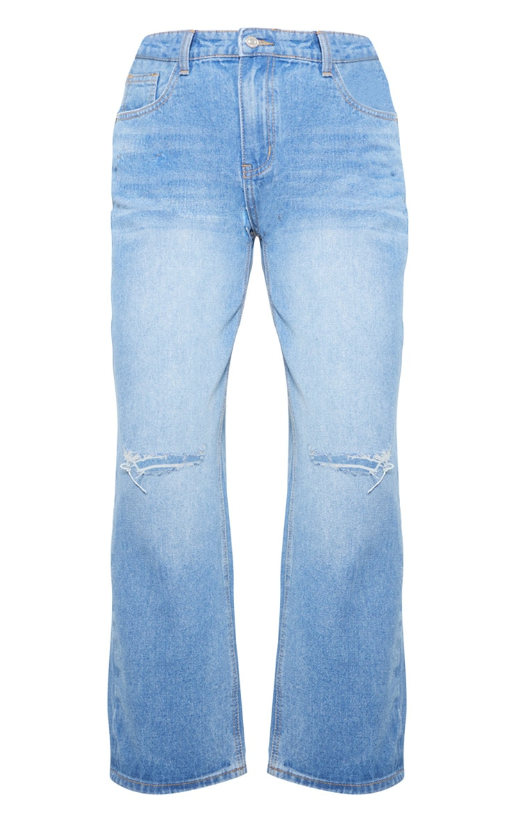 Light Wash Knee Rip Jeans 3