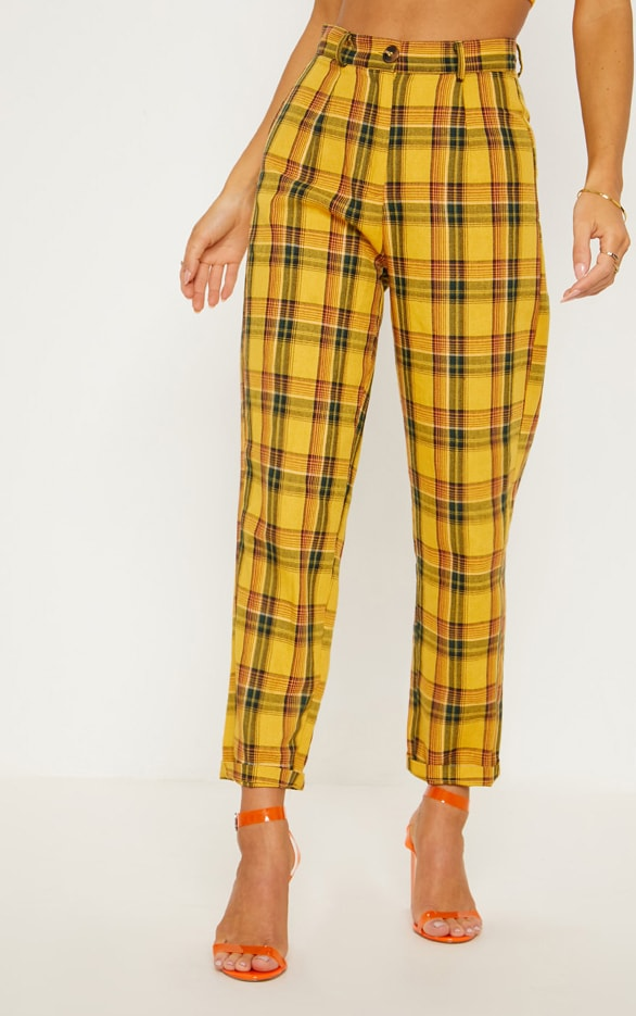 Yellow Check Turn Up Hem Trouser 3