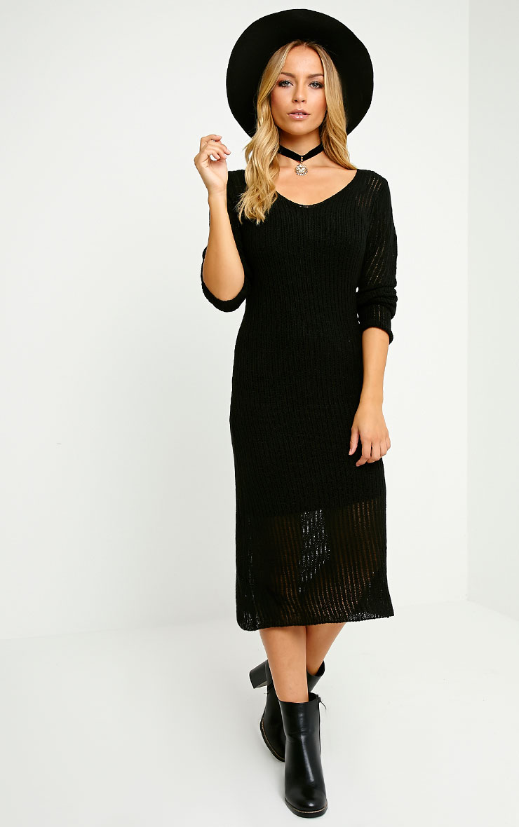 Dellar Black Knitted Long Line Dress 4