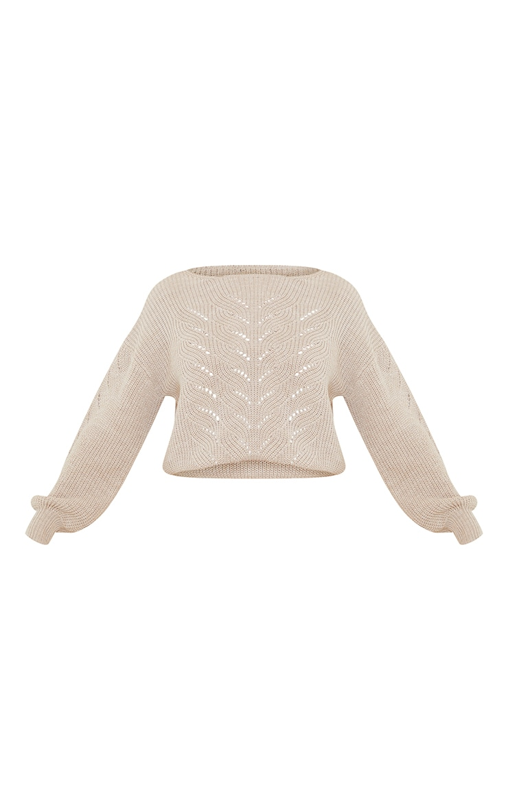 Oatmeal Pointelle Crew Neck Knitted Jumper 5