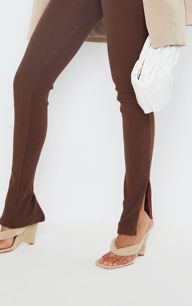 PRETTYLITTLETHING Chocolate Ribbed Zip Split Hem Leggings 4