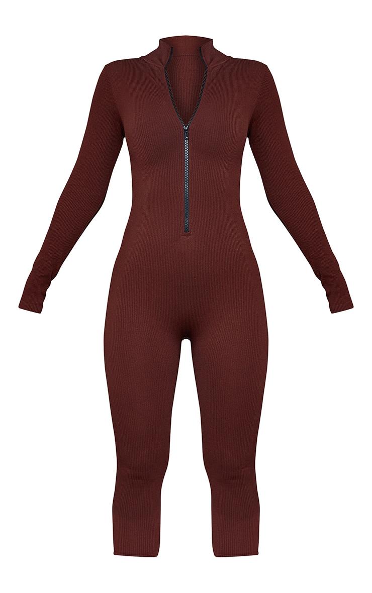 Chocolate Structured Contour Rib Zip Jumpsuit 5