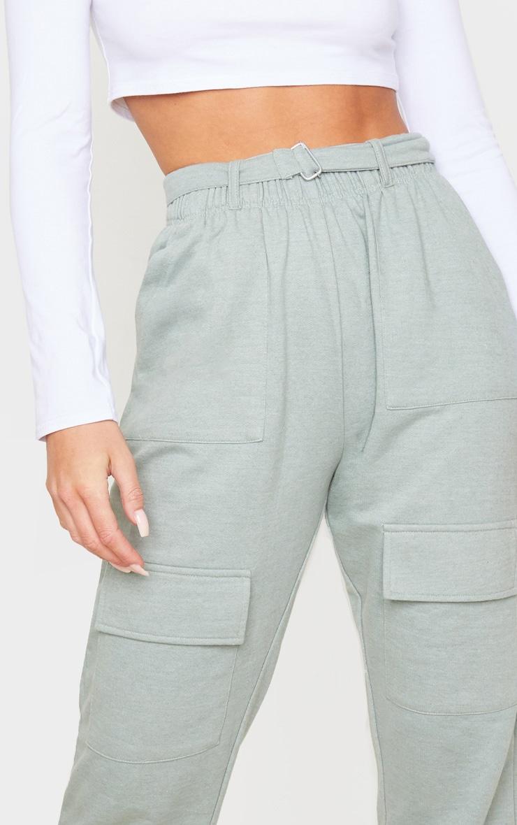 Sage Belted Pocket Detail Tapered Jogger 5
