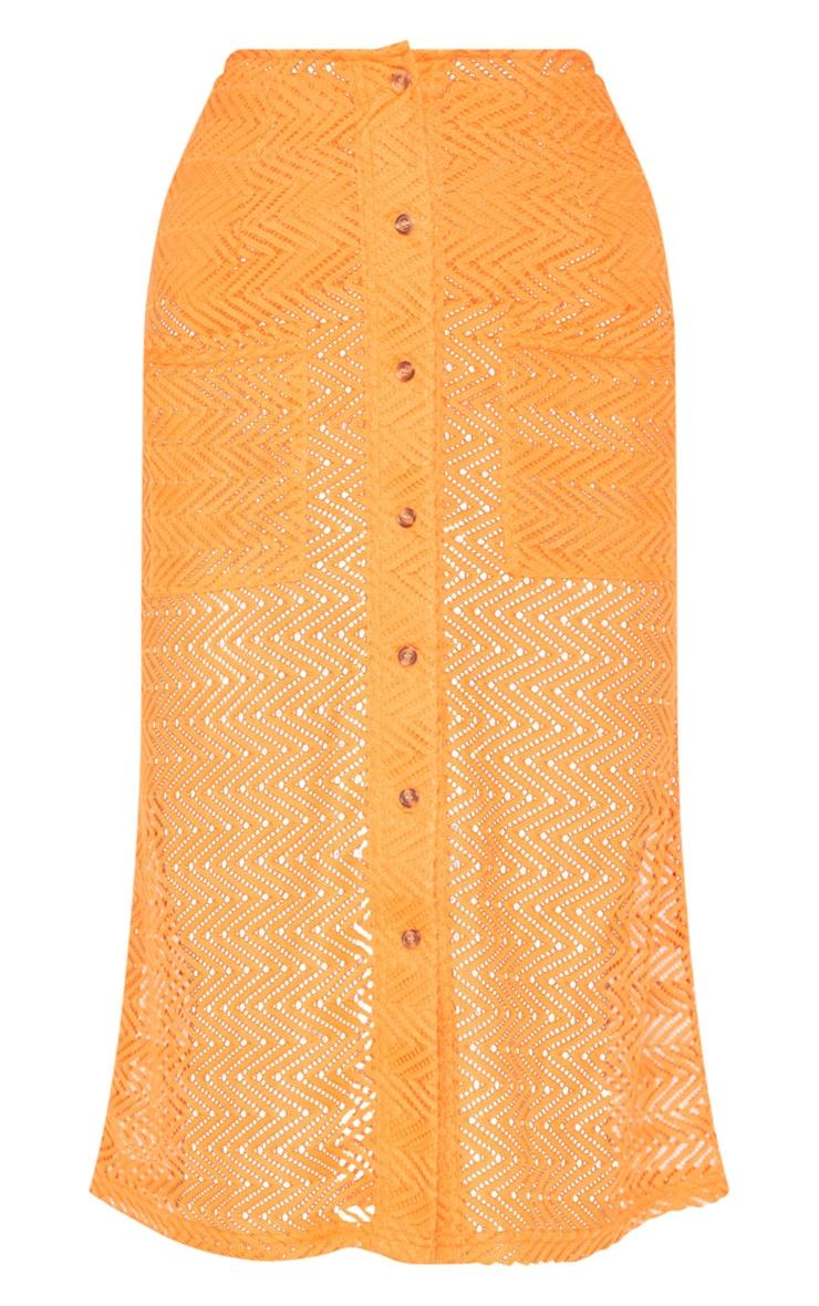 Orange Crochet Button Front Midi Skirt 3