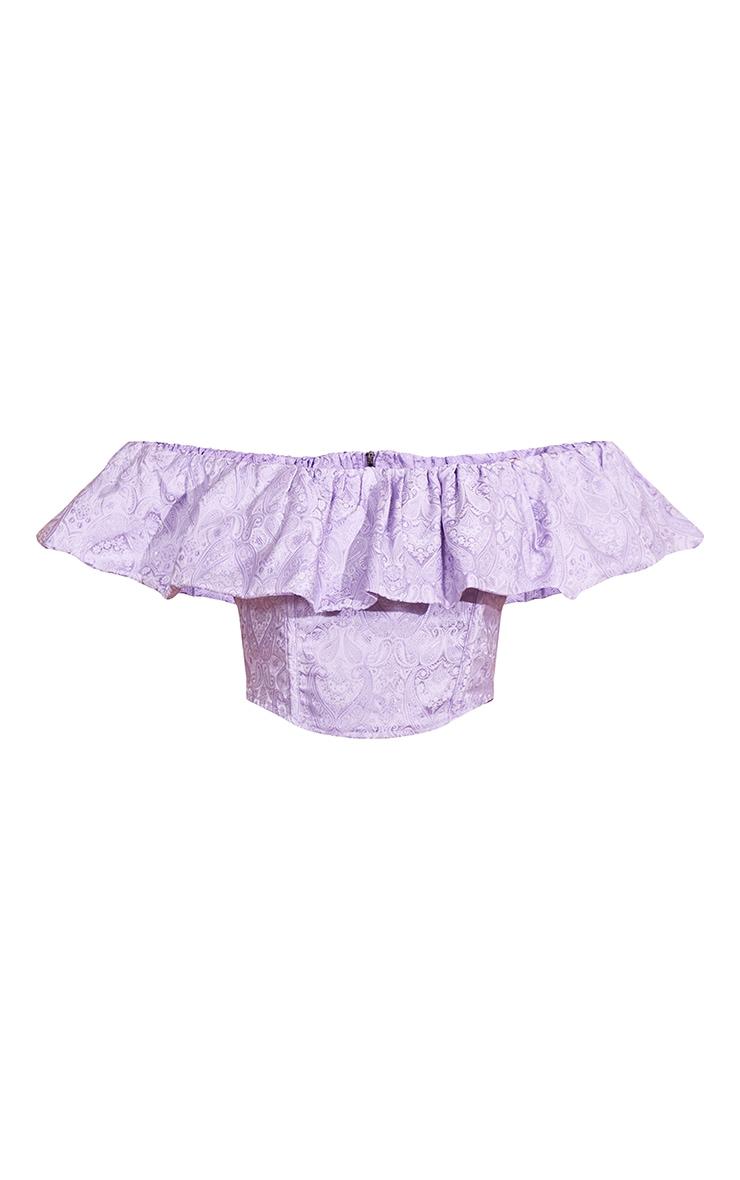 Lilac Woven Jacquard Frill Bardot Crop Top 5