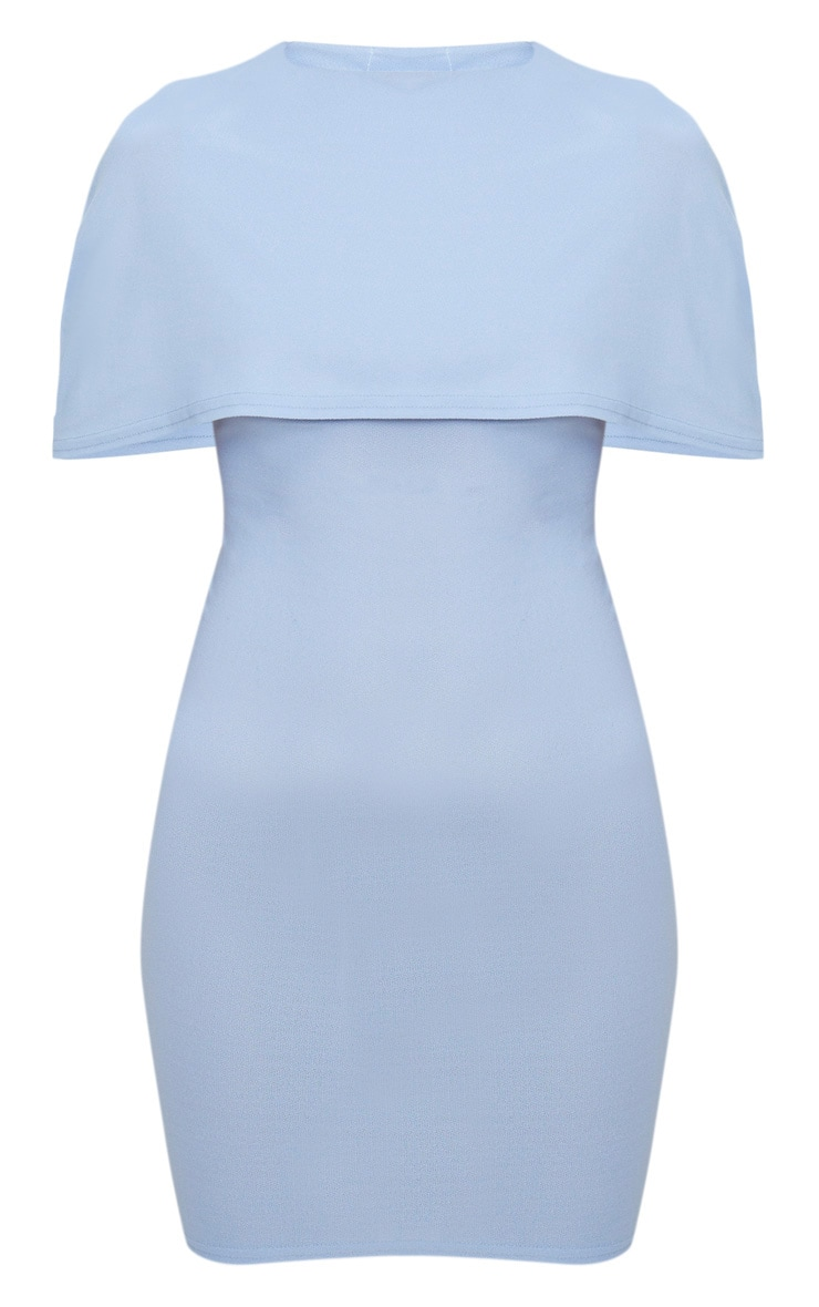 Dusty Blue Cape Detail Midi Dress 3