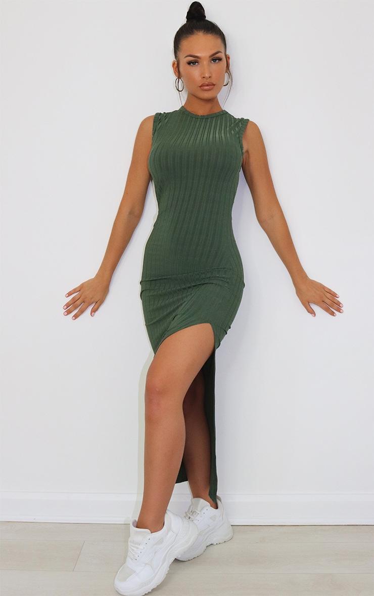 Khaki Recycled Rib Split High Neck Midi Dress 1