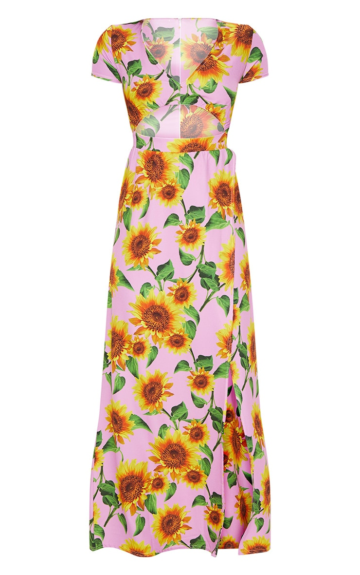 Pink Sunflower Print Cut Out Maxi Dress 3