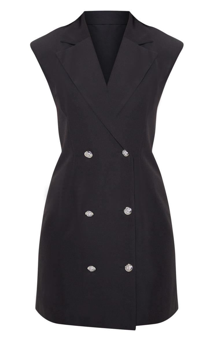 Black Sleeveless Button Detail Bodycon Dress 3