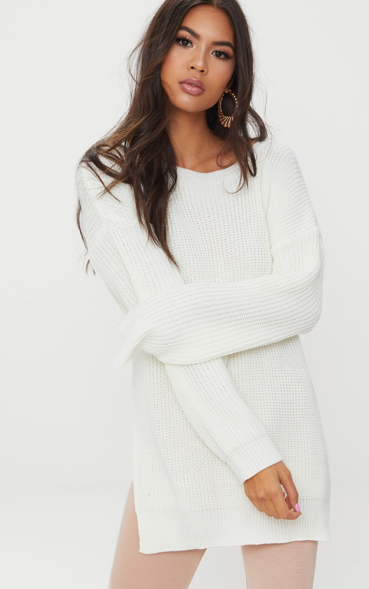 Rexx Cream Round Neck Side Split Sweater 1