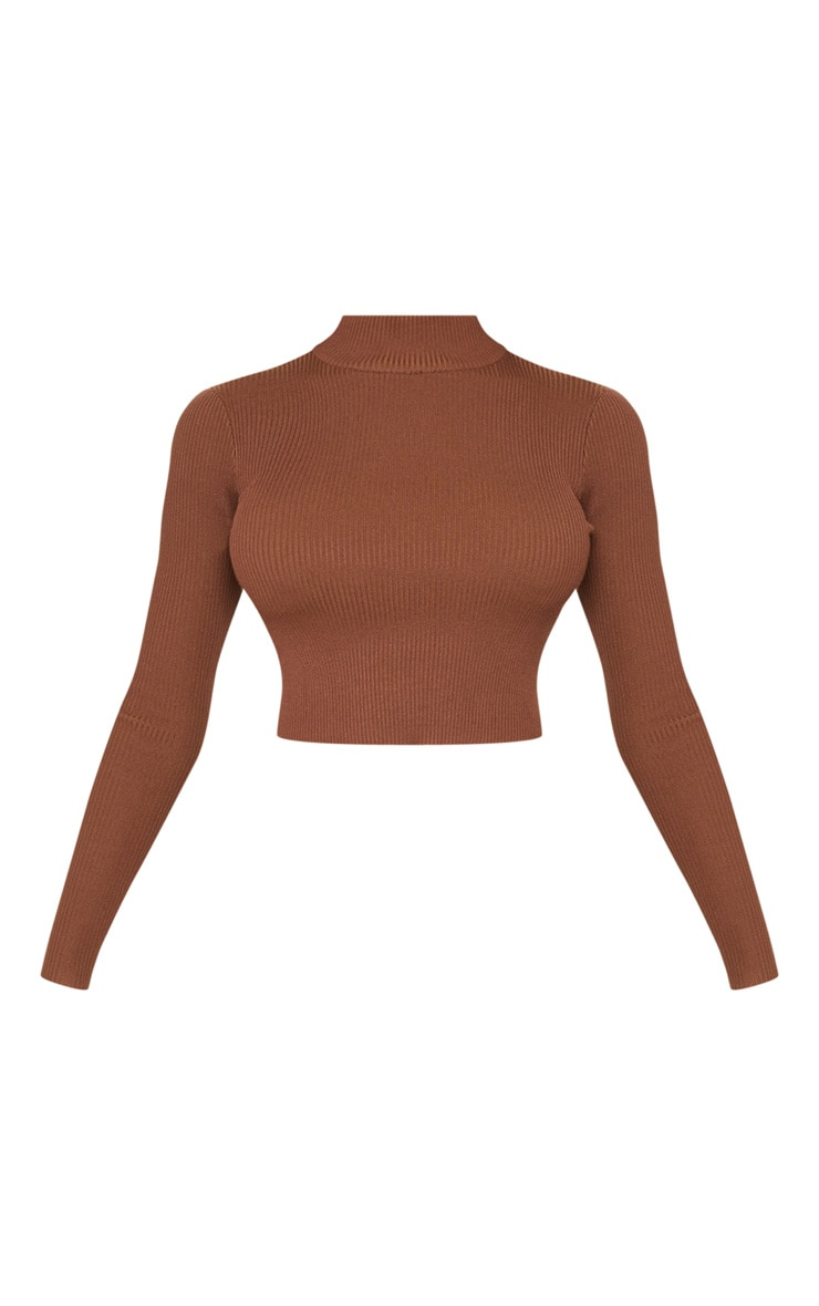 Tall Brown Fitted Crop Knit Top 3