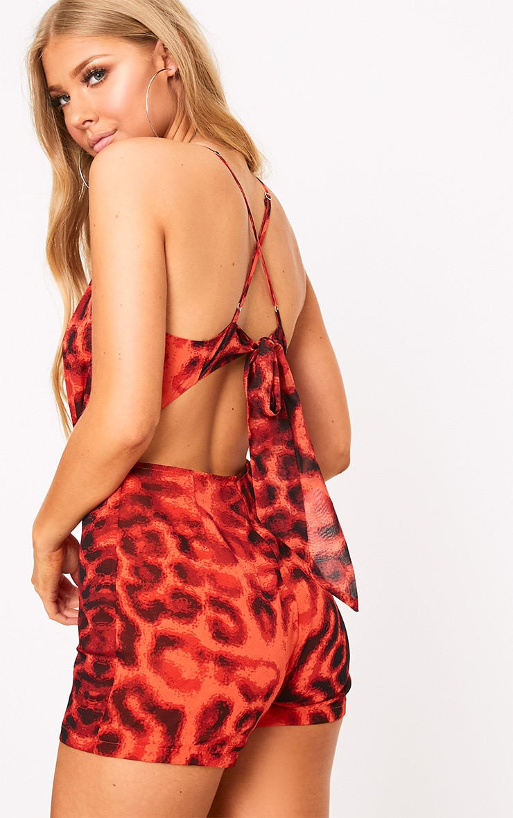 Orange Animal Print Tie Back Playsuit  2