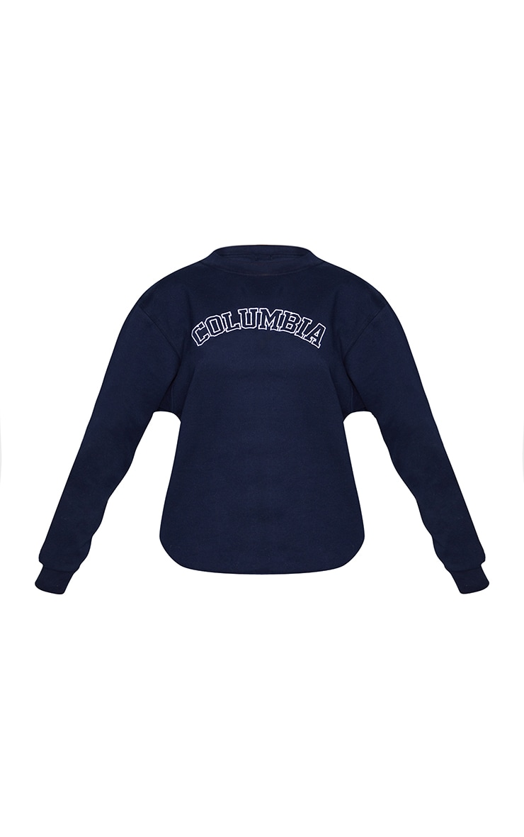 Navy Columbia Embroidered Oversized Sweater 5