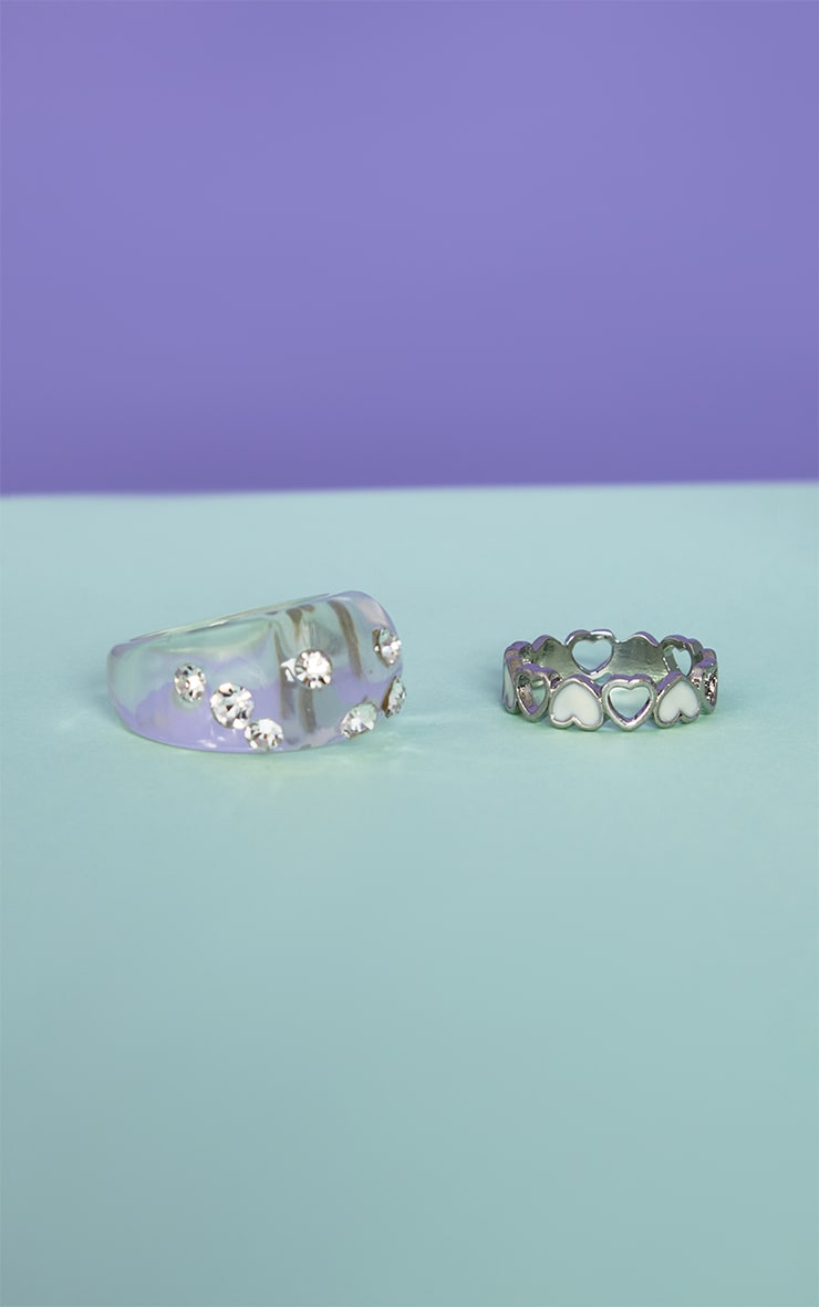 Silver Heart Ring Resin Pack 3