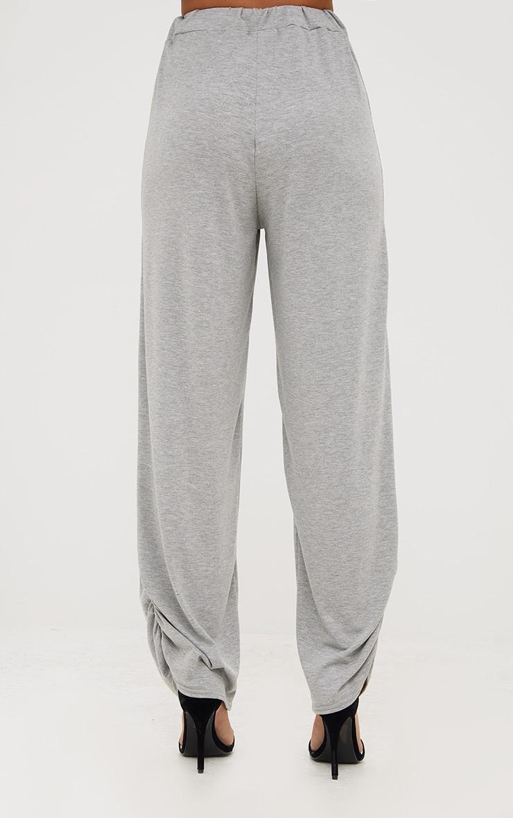 Grey Marl Jersey Ruche Hem Wide Leg Joggers 4