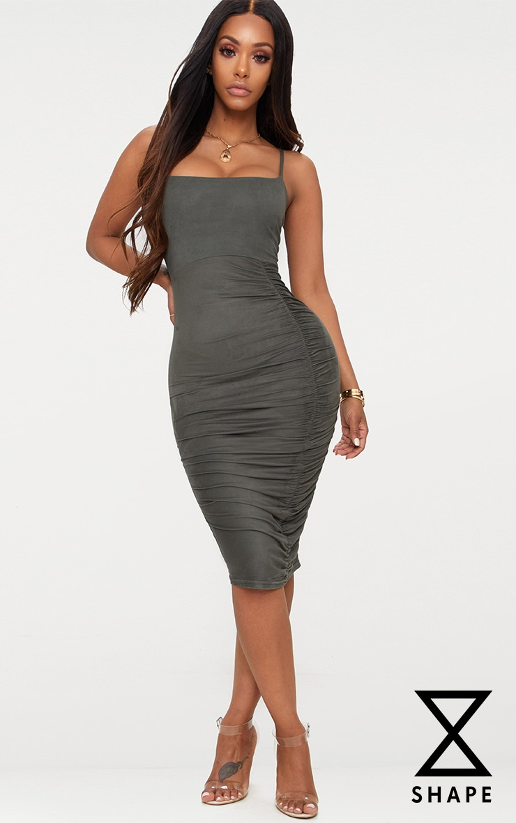 Shape Khaki Faux Suede Ruched Midi Dress