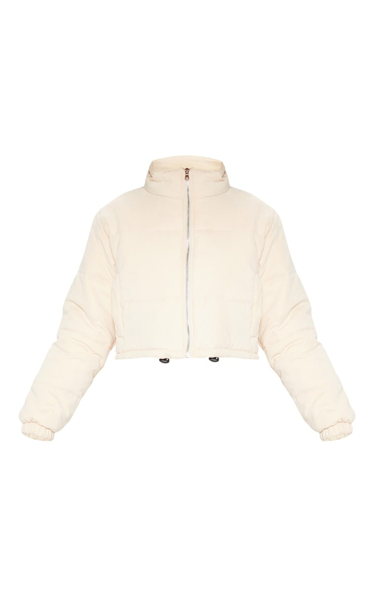 Cream Super Cropped Peach Skin Puffer 3
