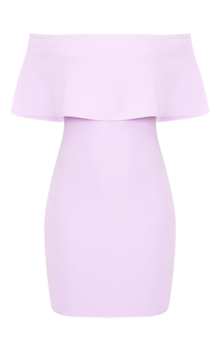 Carley Lilac Bardot Frill Bodycon Dress 3
