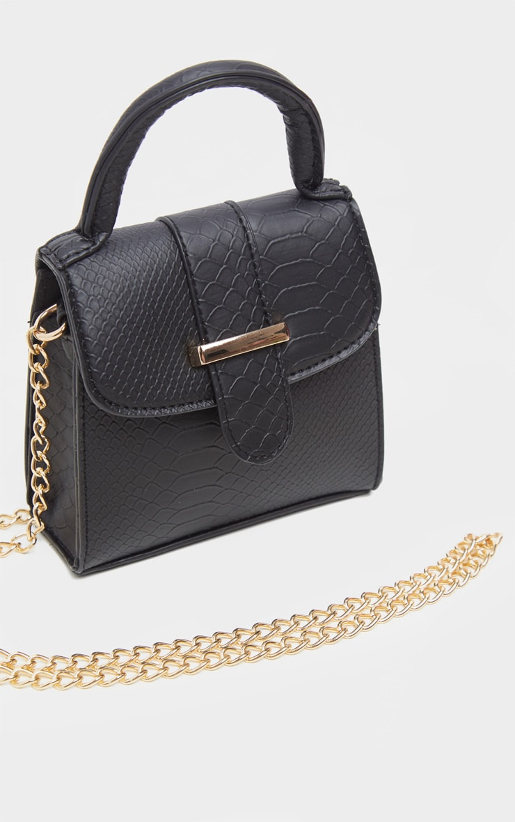 Black Croc One Handle Mini Grab Bag 3