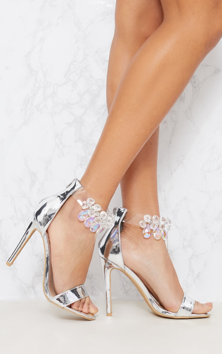 Silver Jewelled Strap Heeled Sandal