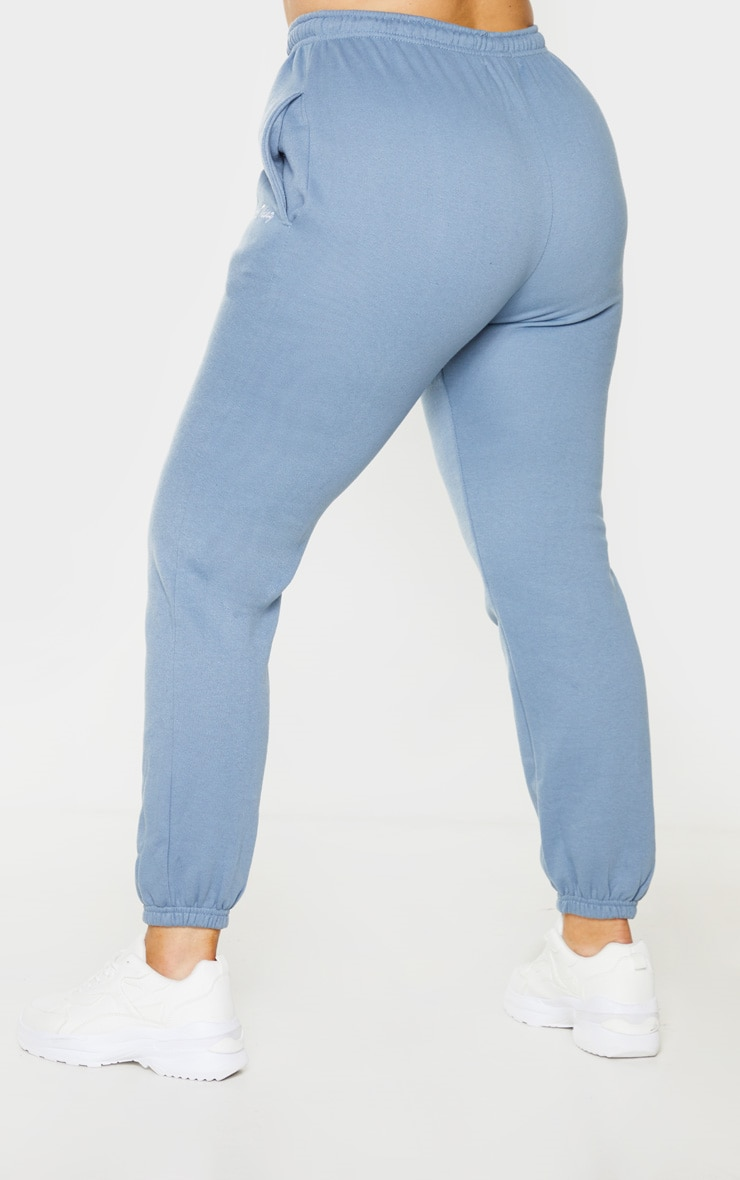 PRETTYLITTLETHING Plus Dusty Blue Embroidered Jogger 3
