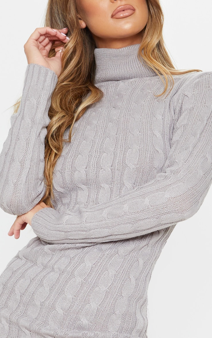 Grey Cable Knit Roll Neck Knitted Midi Dress 5