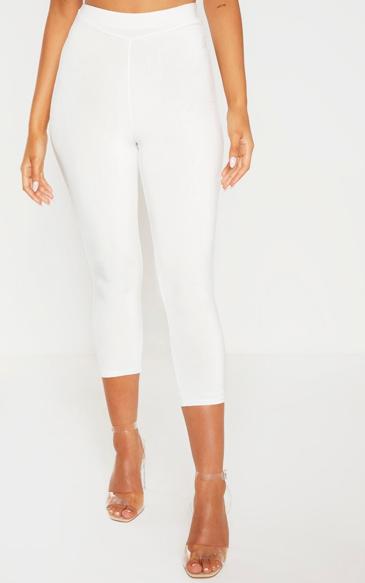 Cream Ruched Bum Cropped Legging 3