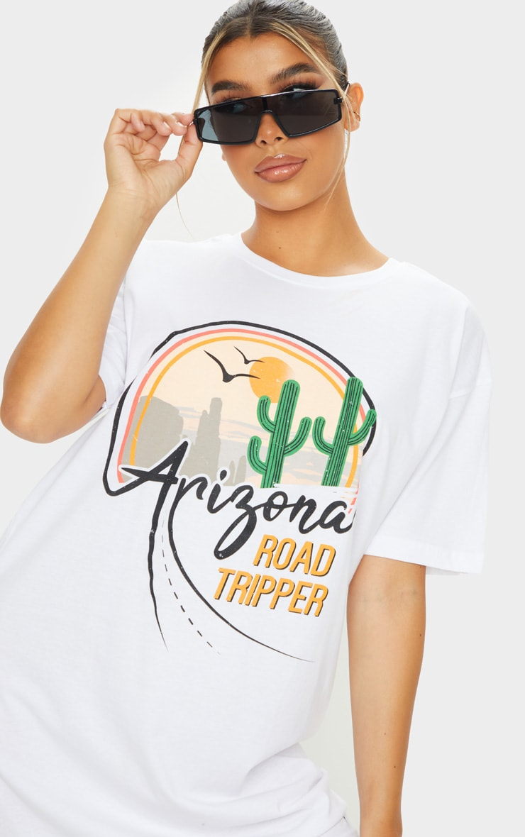 White Arizona Print Slogan T Shirt Dress 4