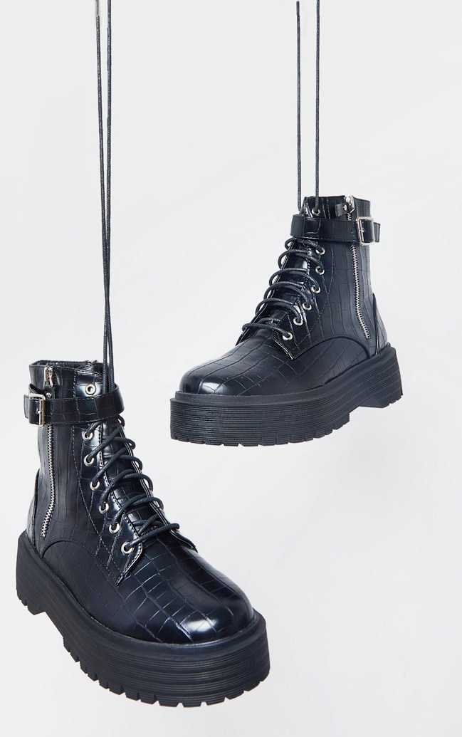 Black Double Sole Lace Up Buckle Biker Boot 4