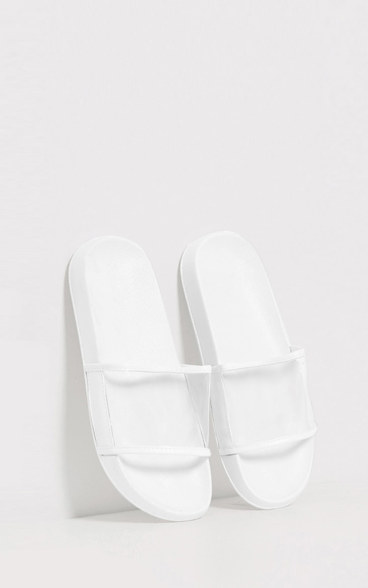 Janette White Clear Strap Sliders 1