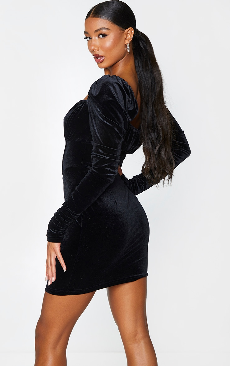 Black Velvet Ruched Sleeve Corset Detail Bodycon Dress 2