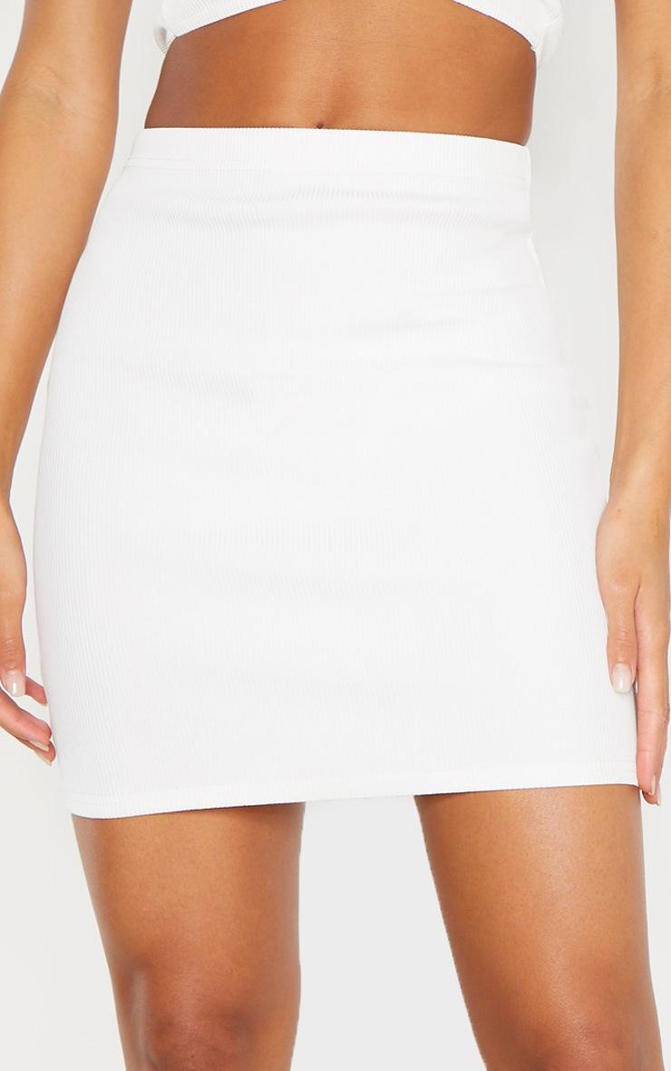 Cream Bandage Rib Mini Skirt 5