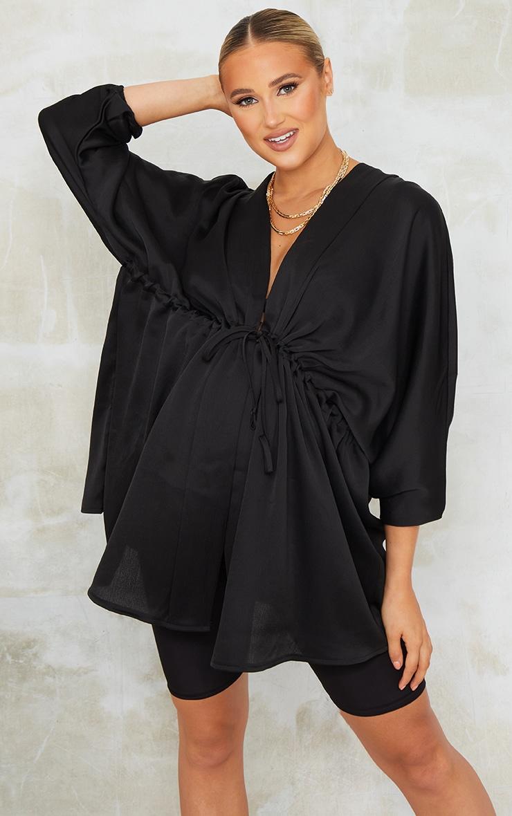 Maternity Black Textured Woven Plunge Tie Waist Blouse 3