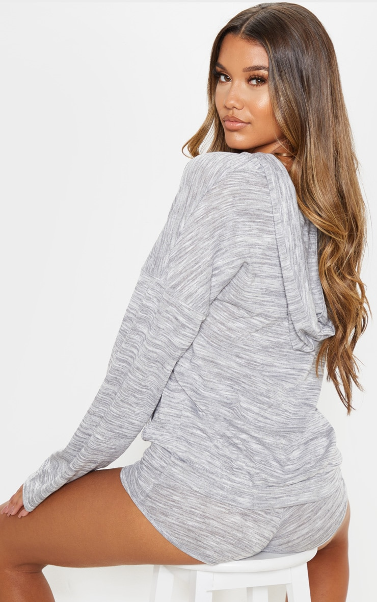 Grey Slouchy Hoodie And Short PJ Set 2