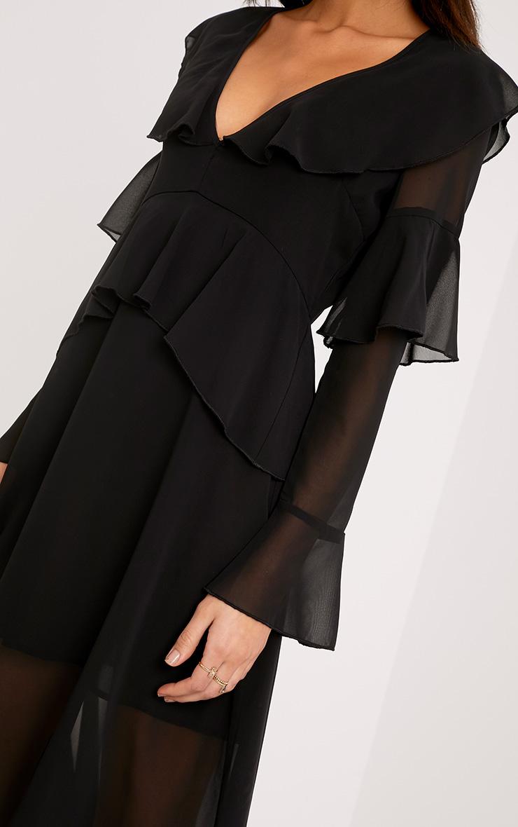 Kaselia Black Frill Detail Midi Dress 4