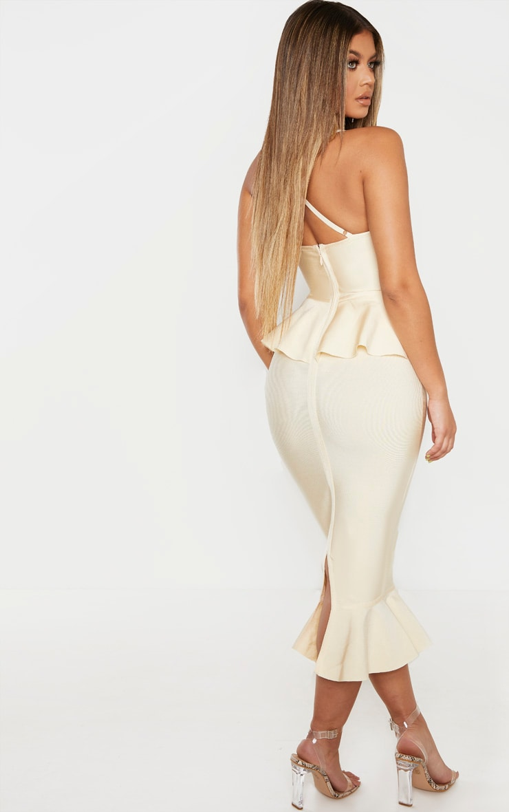 Cream Strappy Peplum Frill Hem Bandage Midi Dress 2