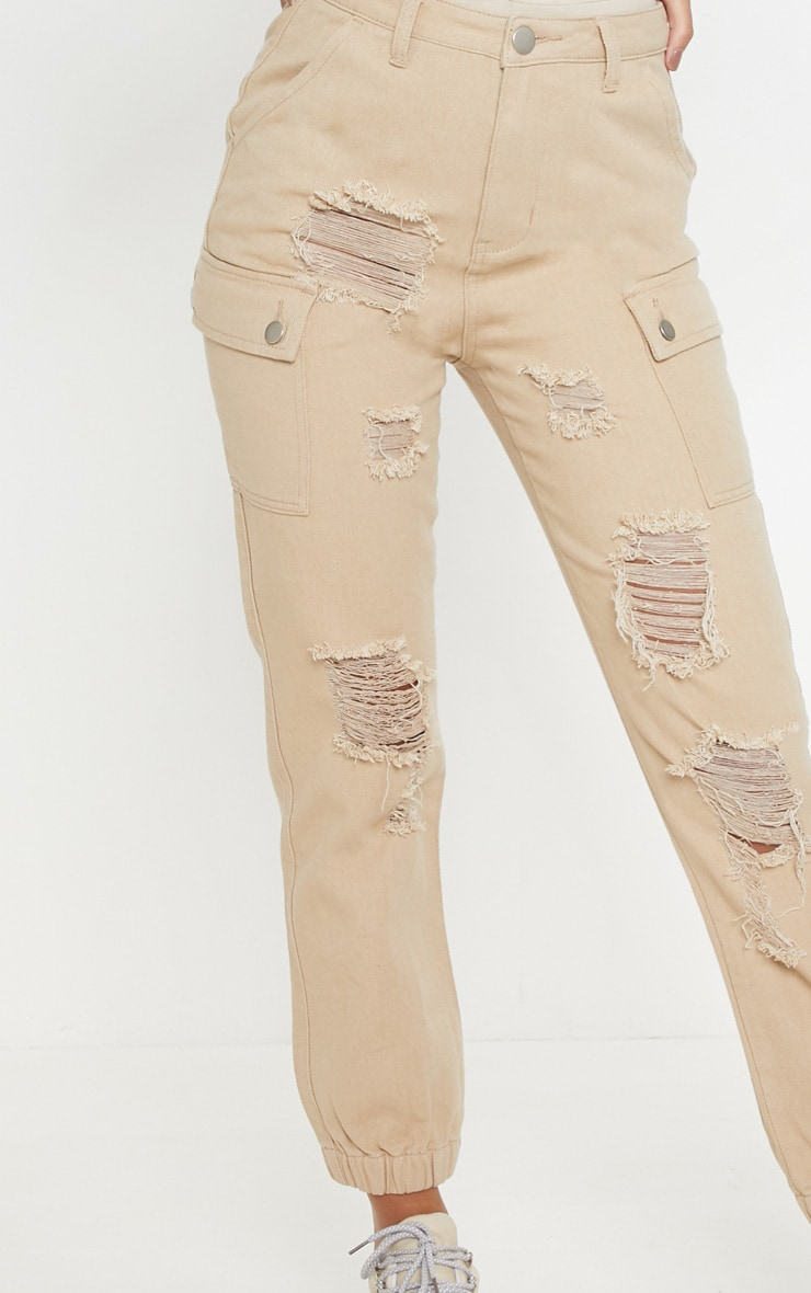 Stone Distressed Cargo Pocket Jeans 5