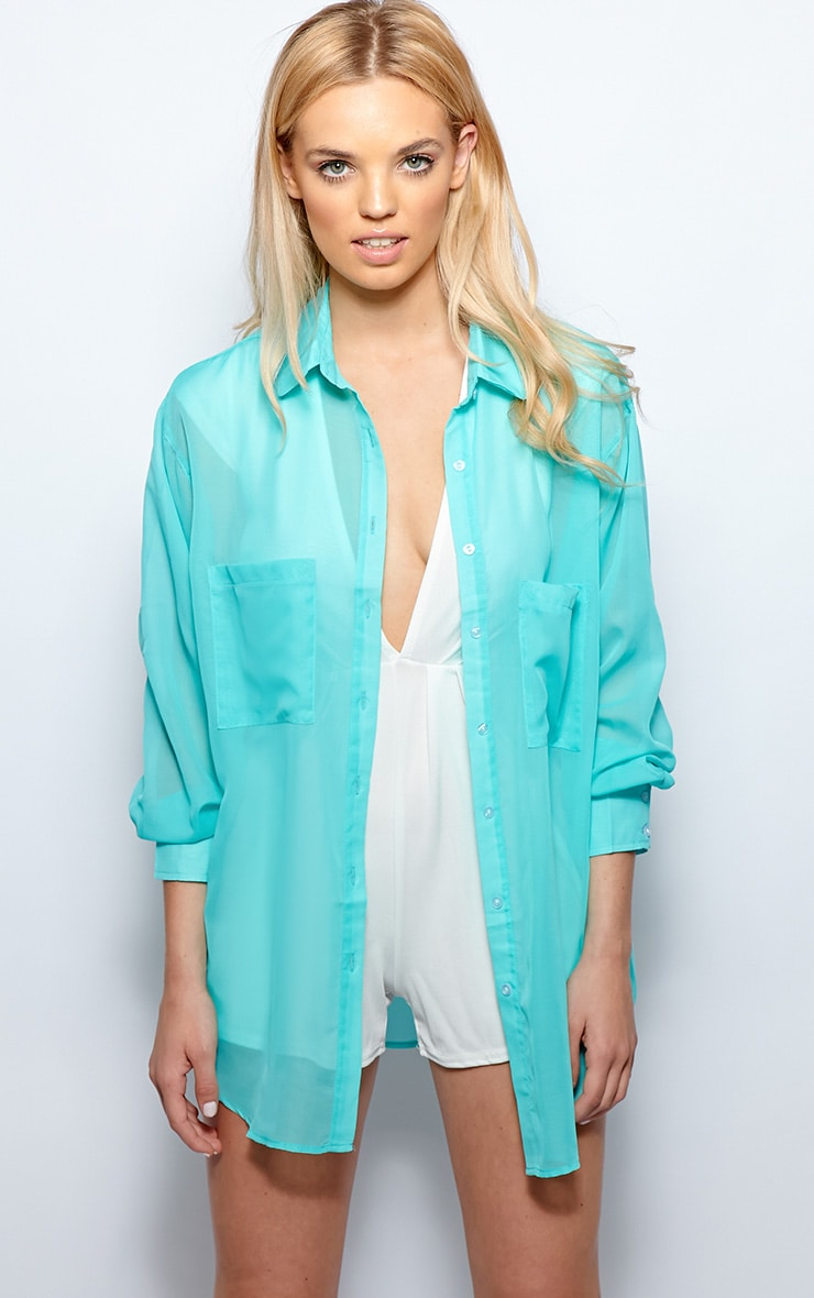 Esme Turquoise Sheer Oversized Shirt 4