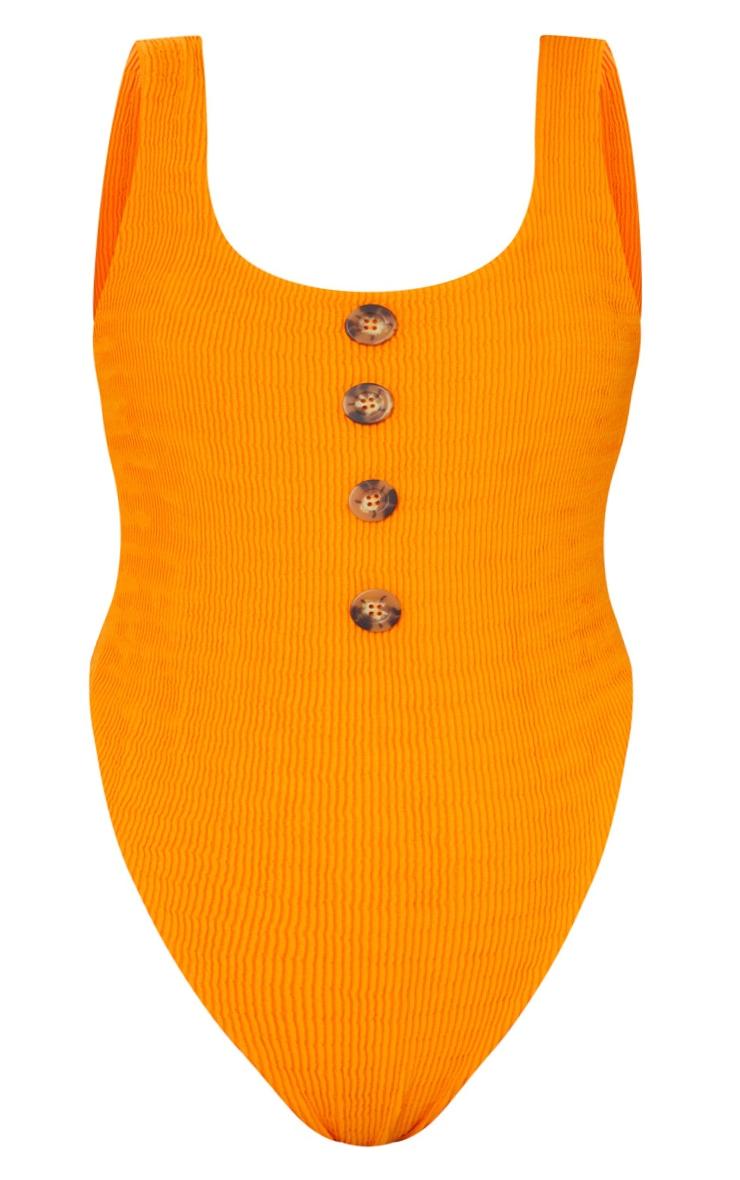 Plus Orange Crinkle Button Swimsuit 5