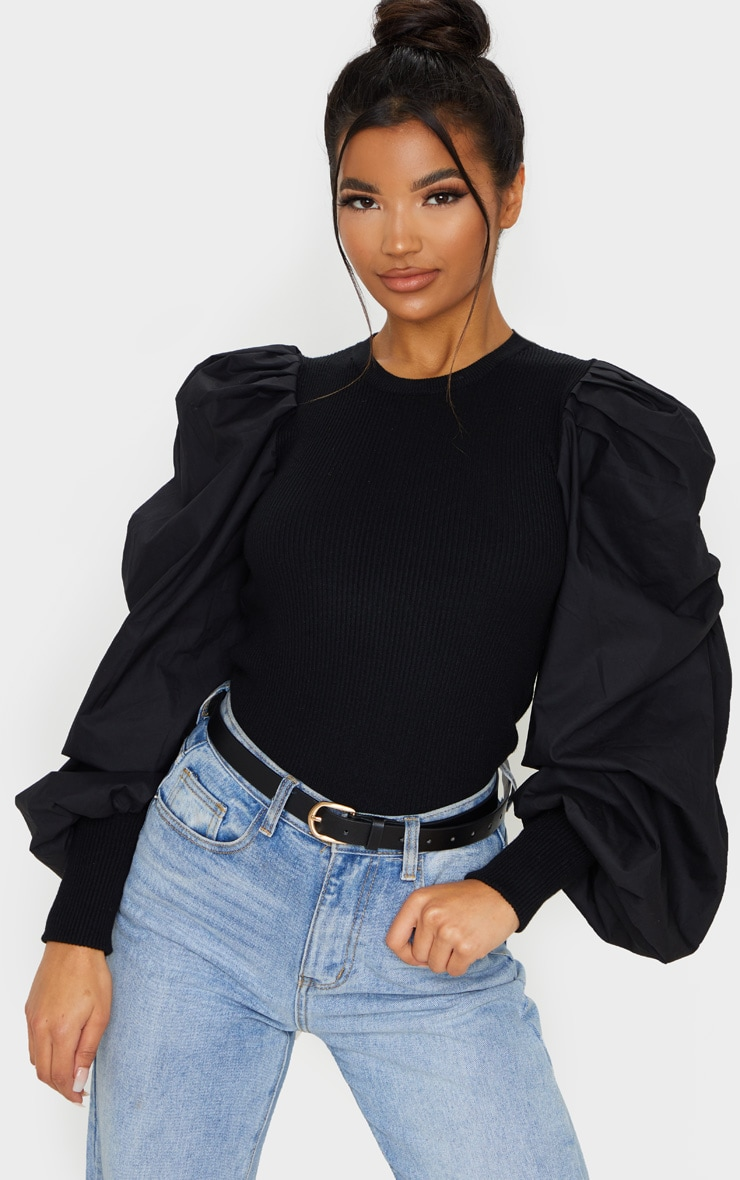 Black Extreme Poplin Sleeve Knitted Jumper 1
