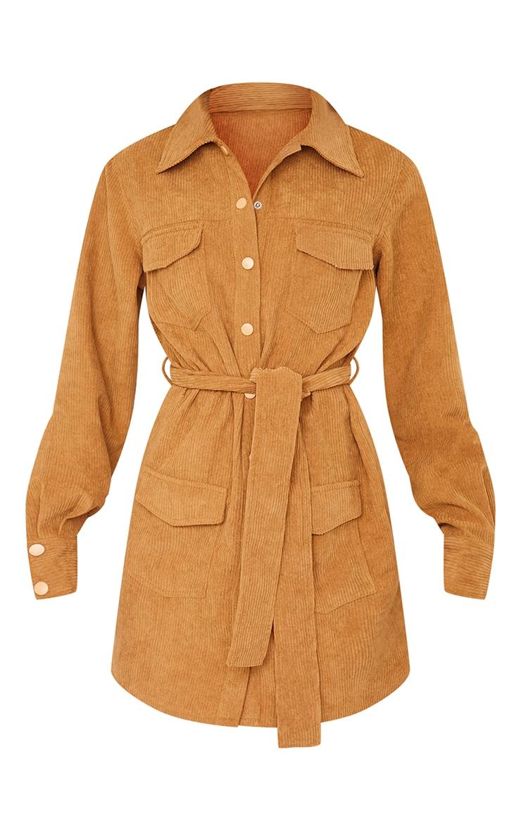 Camel Pocket Detail Popper Tie Waist Cord Shirt Dress 5