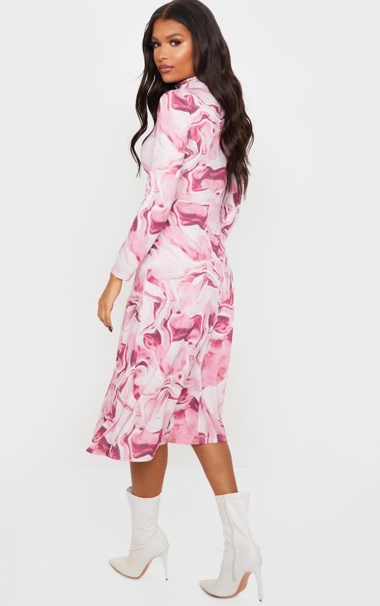 Blush Marble Print Midi Dress 2