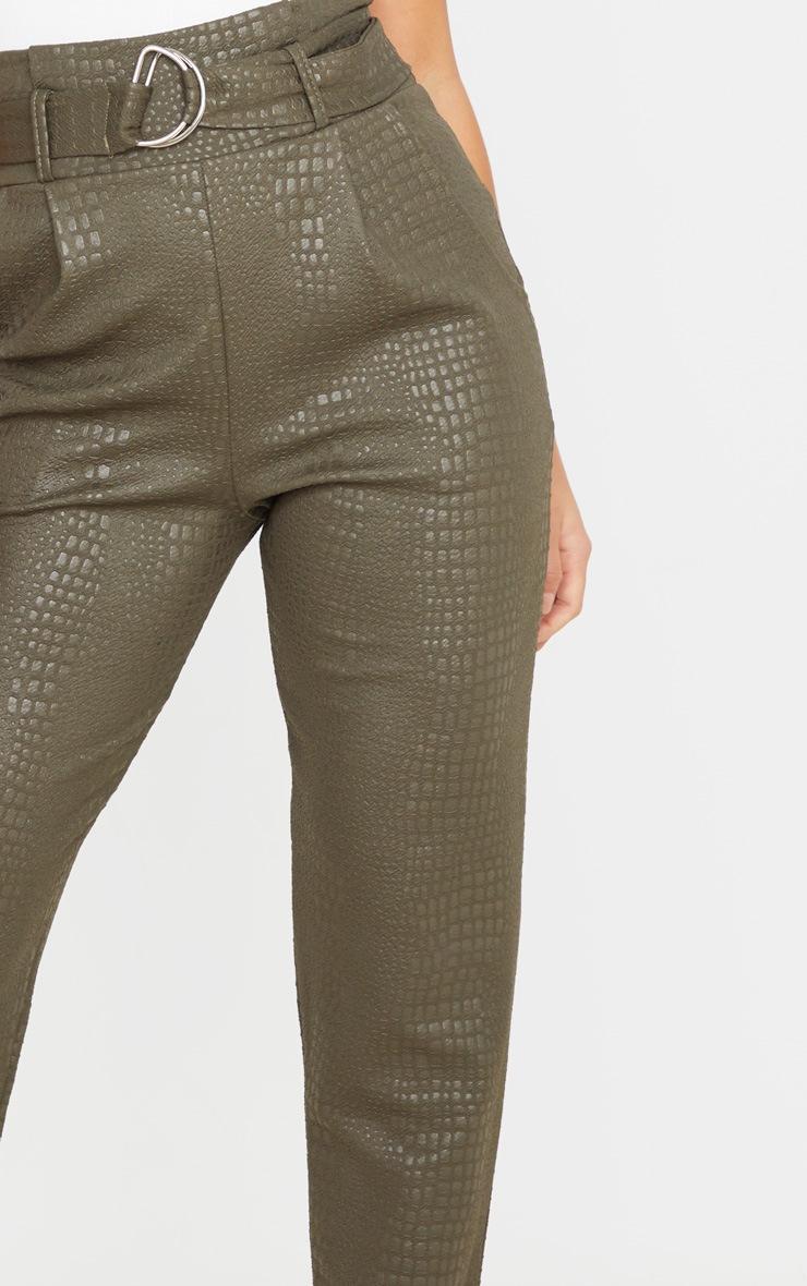Petite - Pantalon skinny kaki effet croco à ceinture à boucle en D 5