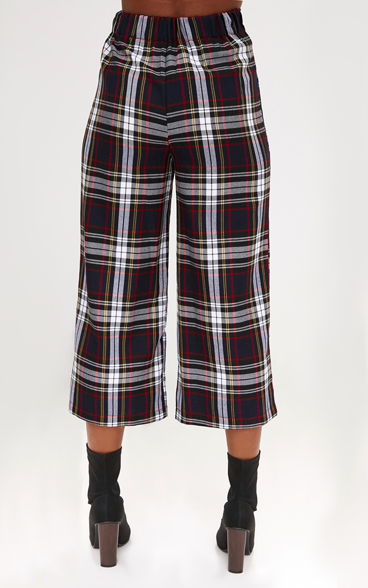Black Check High Waisted Culottes 4