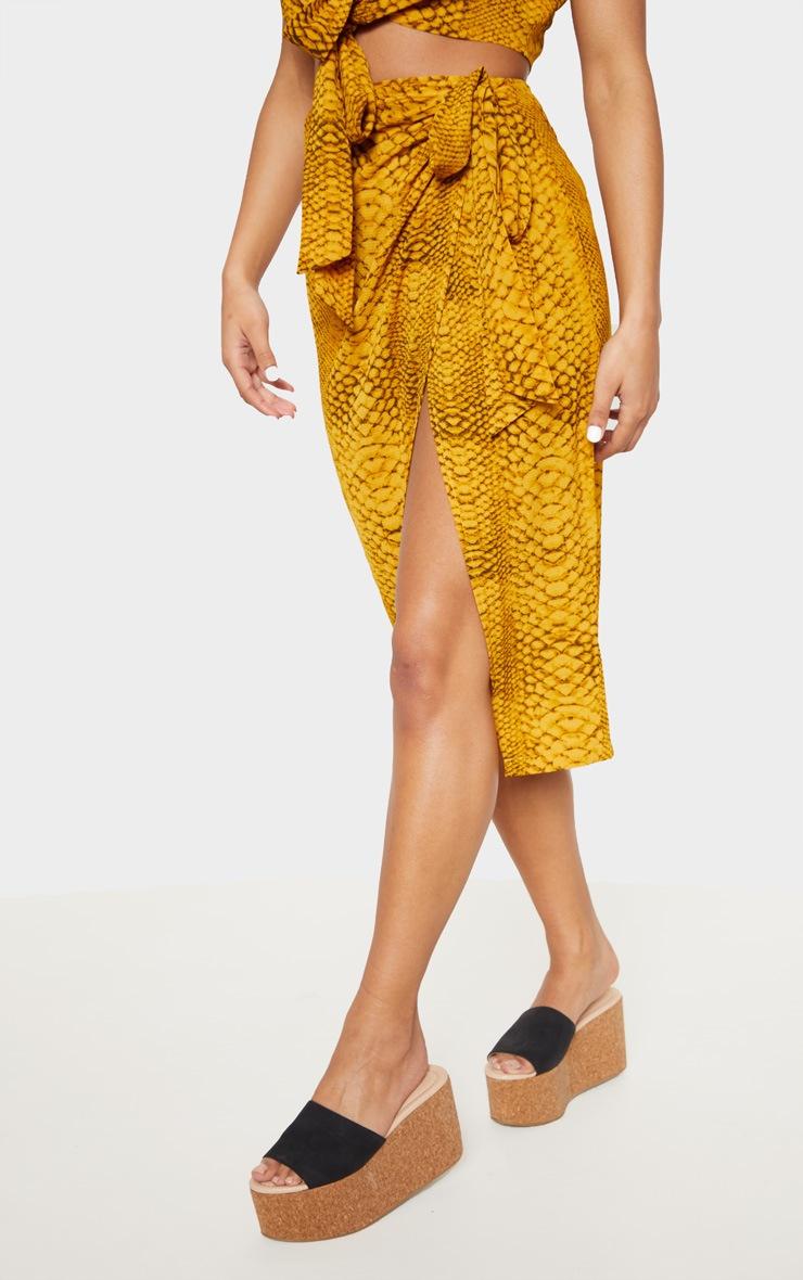 Mustard Snake Print Tie Side Midi Skirt 2