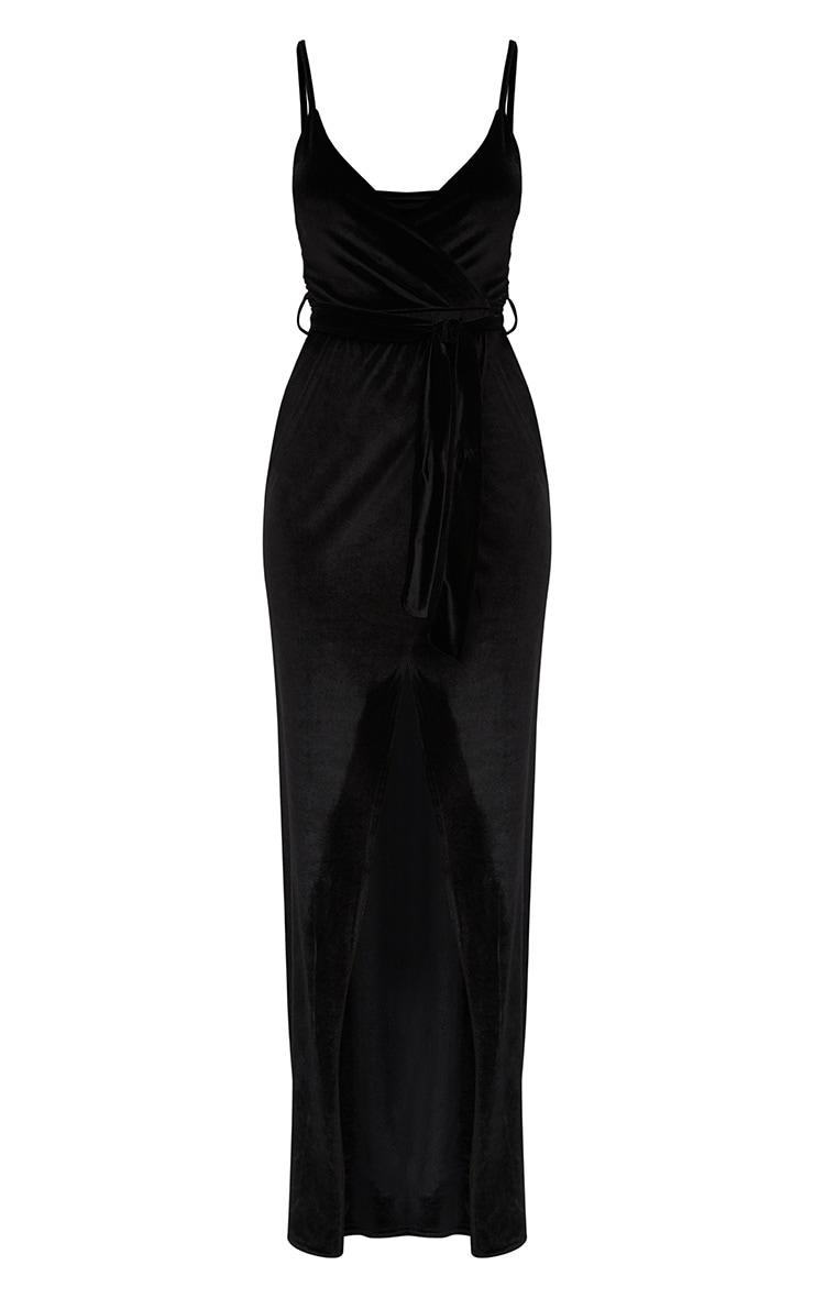 Black Velvet Plunge Wrap Maxi Dress 3